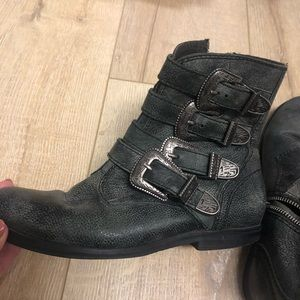 Jeffrey Campbell buckle moto boot